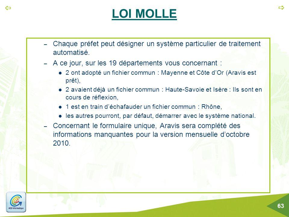  63 LOI MOLLE – Chaque préfet peut désigner un système particulier de traitement automatisé. – A ce jour, sur les 19 départements vous concernant :