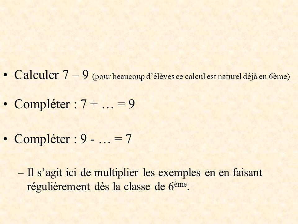 Calculer 7 – 9 (pour beaucoup d'élèves ce calcul est naturel déjà en 6ème) Compléter : 7 + … = 9 Compléter : 9 - … = 7 –Il s'agit ici de multiplier le