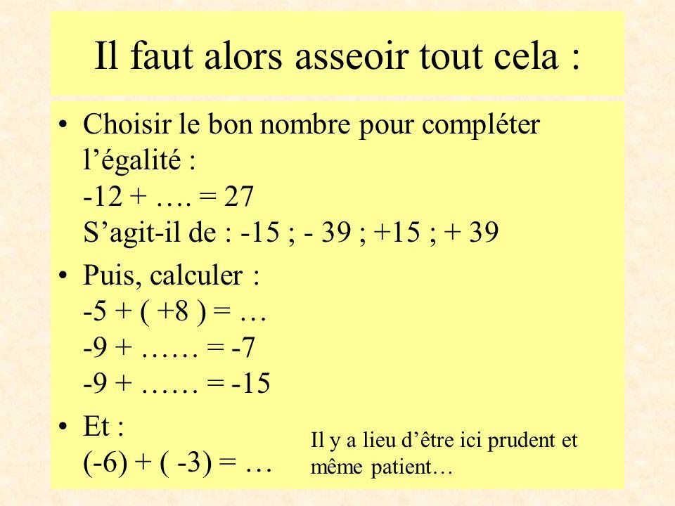 Choisir le bon nombre pour compléter l'égalité : 12 + …. = 27 S'agit-il de : -15 ; - 39 ; +15 ; + 39 Puis, calculer : 5 + ( +8 ) = … Et : (+6) + ( +3)