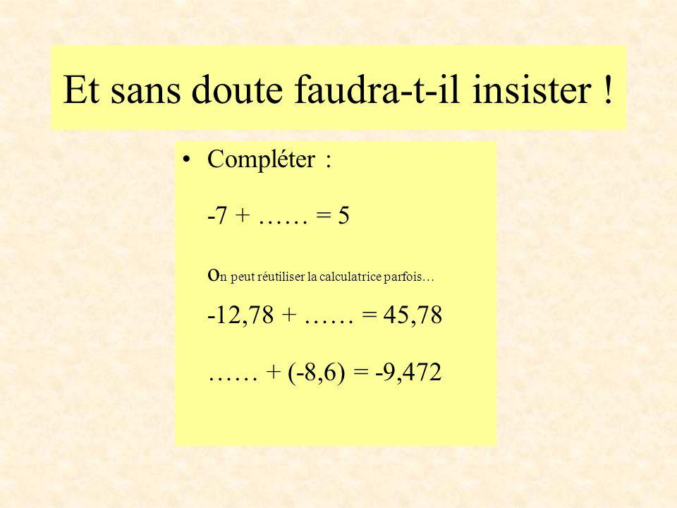 Et sans doute faudra-t-il insister ! Compléter : -7 + …… = 5 o n peut réutiliser la calculatrice parfois… -12,78 + …… = 45,78 …… + (-8,6) = -9,472