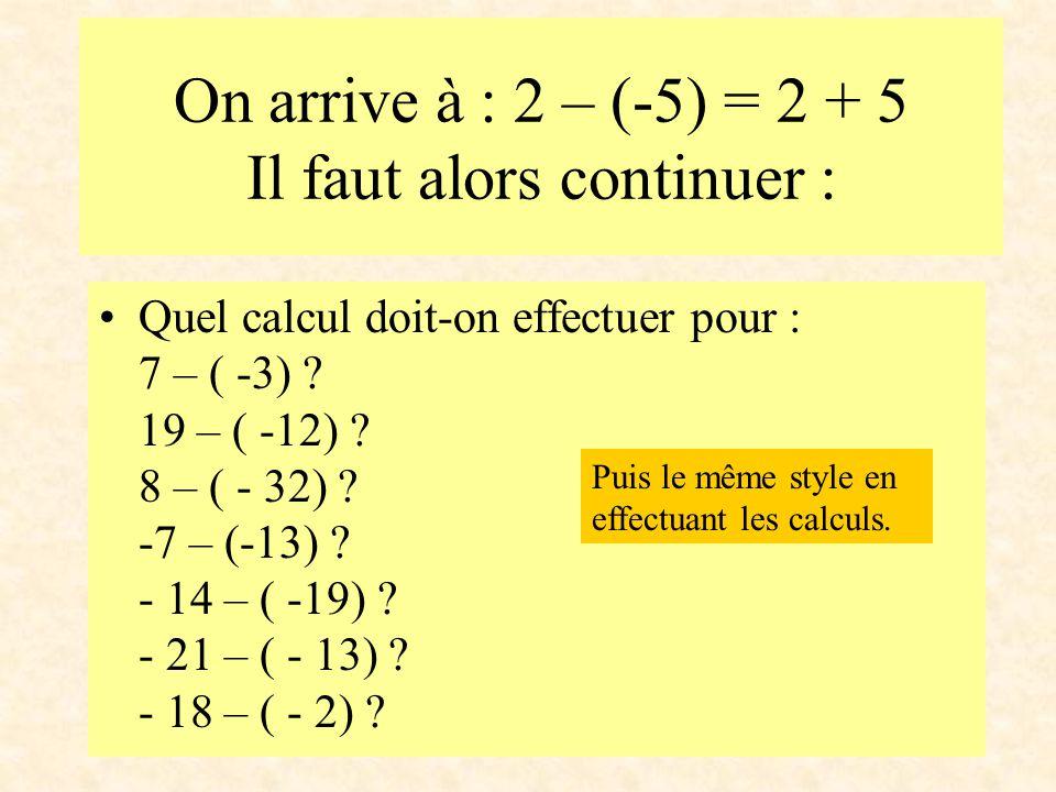 On arrive à : 2 – (-5) = 2 + 5 Il faut alors continuer : Quel calcul doit-on effectuer pour : 7 – ( -3) ? 19 – ( -12) ? 8 – ( - 32) ? -7 – (-13) ? - 1