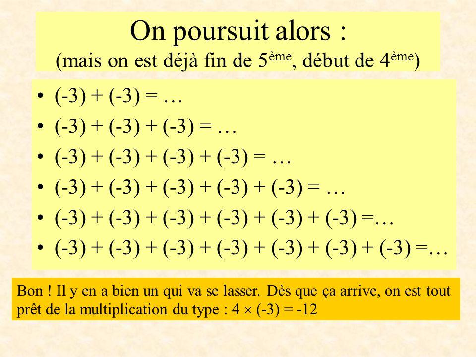 On poursuit alors : (mais on est déjà fin de 5 ème, début de 4 ème ) (-3) + (-3) = … (-3) + (-3) + (-3) = … (-3) + (-3) + (-3) + (-3) = … (-3) + (-3)