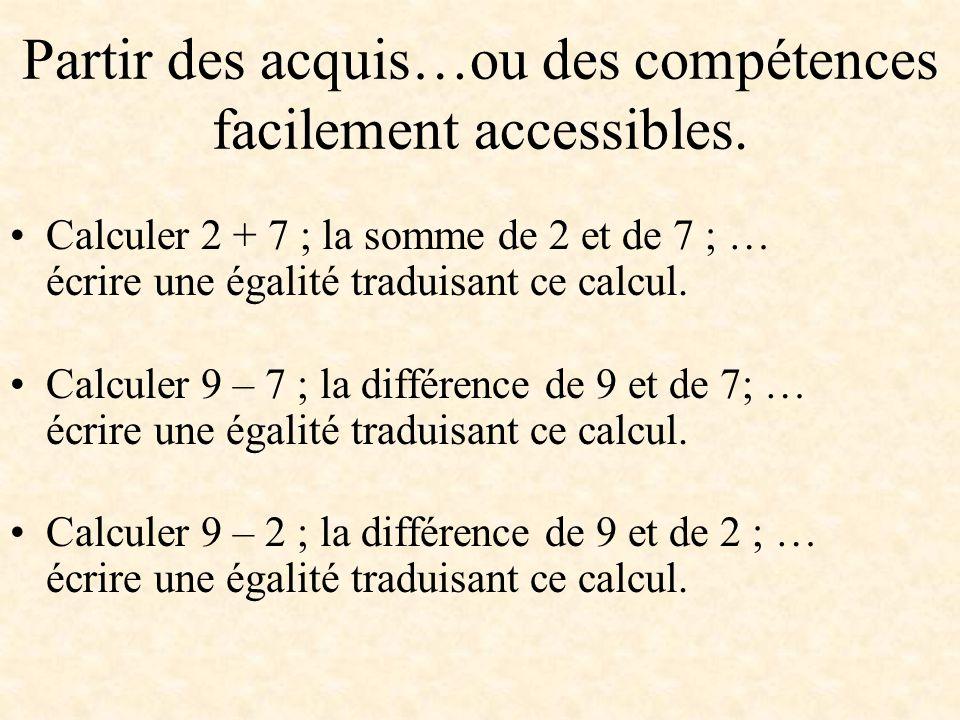 Partir des acquis…ou des compétences facilement accessibles. Calculer 2 + 7 ; la somme de 2 et de 7 ; … écrire une égalité traduisant ce calcul. Calcu