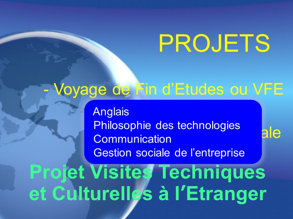 PROJECTS Technical Visits and Field Trip Abroad - Field Trip Abroad or FTA - General Education Courses English Philosophy of the technologies Communication Social Mangement of the Entreprise