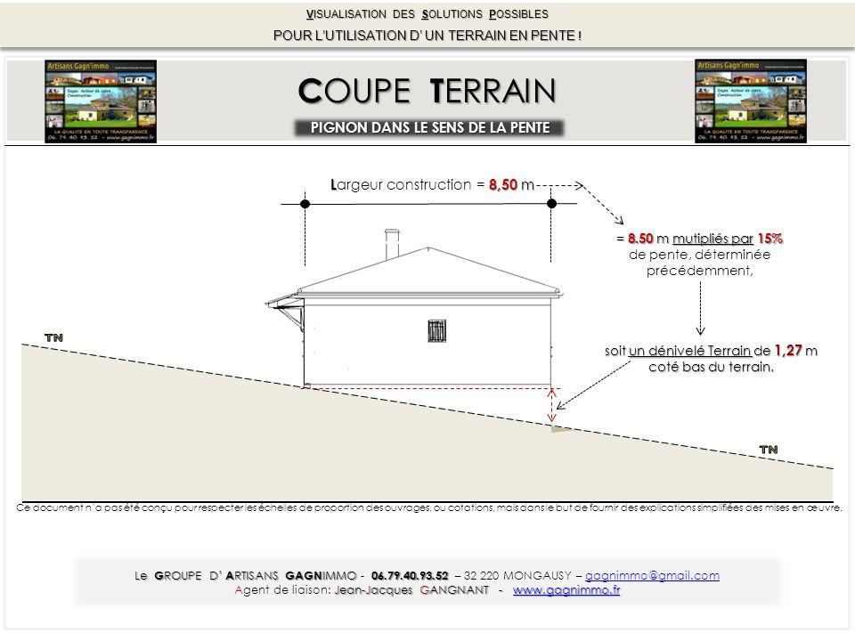 C OUPE T ERRAIN PIGNON DANS LE SENS DE LA PENTE = 8.50 m mutipliés par 15% de pente, déterminée précédemment, soit un dénivelé Terrain de 1,27 m coté bas du terrain.
