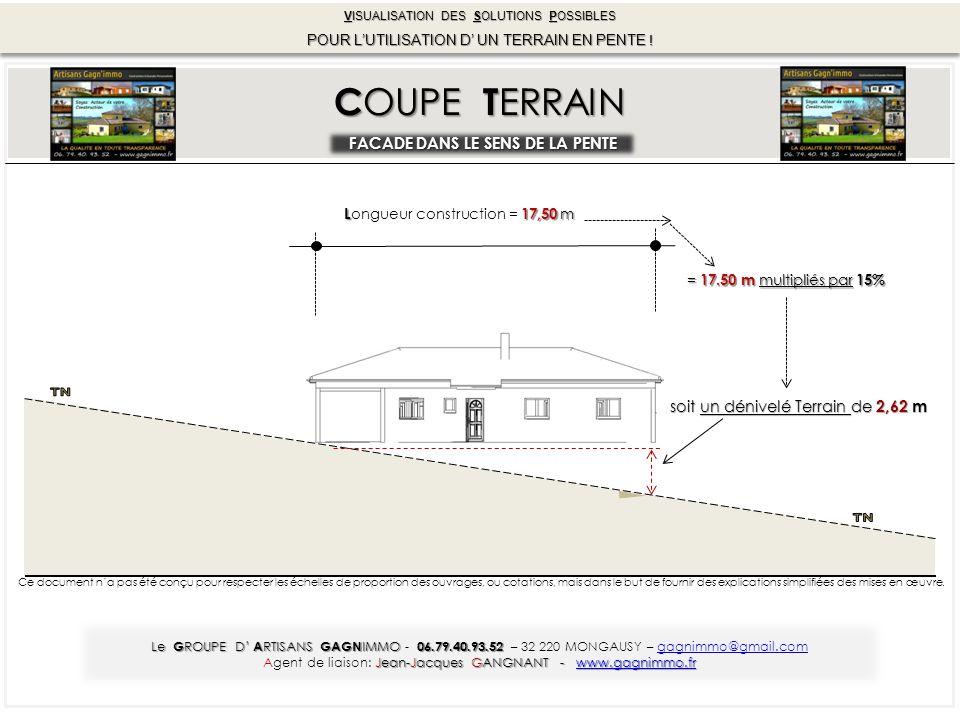 = 17.50 m multipliés par 15% soit un dénivelé Terrain de 2,62 m L17,50 m L ongueur construction = 17,50 m C OUPE T ERRAIN FACADE DANS LE SENS DE LA PENTE Le G ROUPE D' A RTISANS GAGN IMMO 06.79.40.93.52 Le G ROUPE D' A RTISANS GAGN IMMO - 06.79.40.93.52 – 32 220 MONGAUSY – gagnimmo@gmail.com Jean-Jacques GANGNANT - www.gagnimmo.fr Agent de liaison: Jean-Jacques GANGNANT - www.gagnimmo.fr VISUALISATION DES SOLUTIONS POSSIBLES POUR L'UTILISATION D' UN TERRAIN EN PENTE .