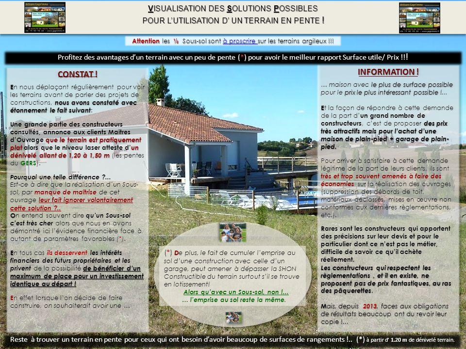 VISUALISATION DES SOLUTIONS POSSIBLES POUR L'UTILISATION D' UN TERRAIN EN PENTE .