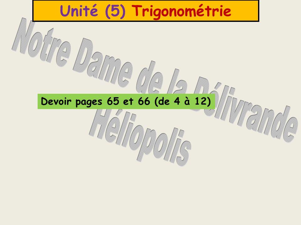 Unité (5) Trigonométrie Devoir pages 65 et 66 (de 4 à 12)