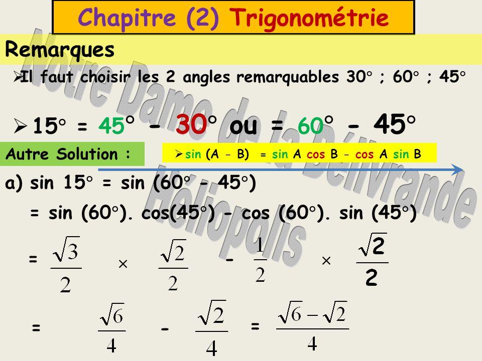 Unité (5) Trigonométrie b) cos 75  = cos (45  + 30  ) Solution : = cos (45  ).
