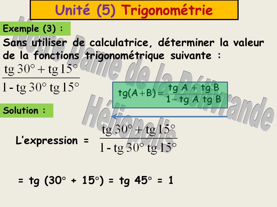 Unité (5) Trigonométrie Exemple (4) : Sans utiliser de calculatrice, déterminer la valeur de la fonction trigonométrique: tg (45  +  ).