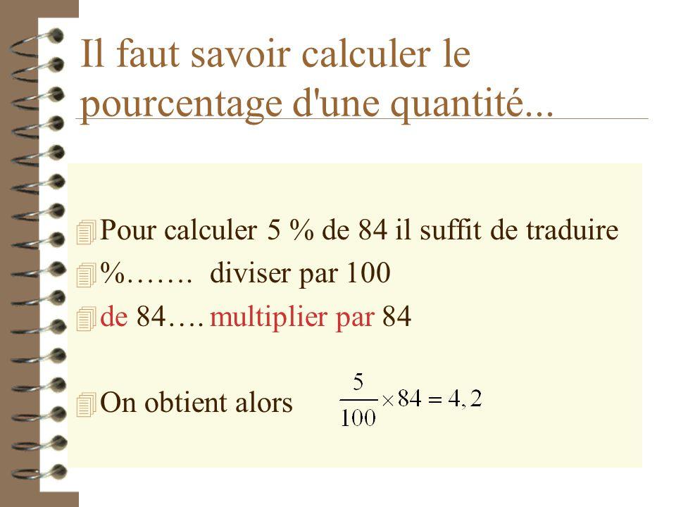 Il faut savoir calculer le pourcentage d une quantité...
