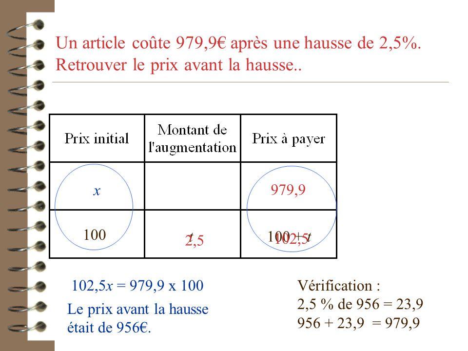 Un article coûte 1066, 40 € T.T.C. Son prix hors taxe est de 800€. Quel est le taux de la taxe ? 100 t100 + t Attention ajouter une taxe c'est augment