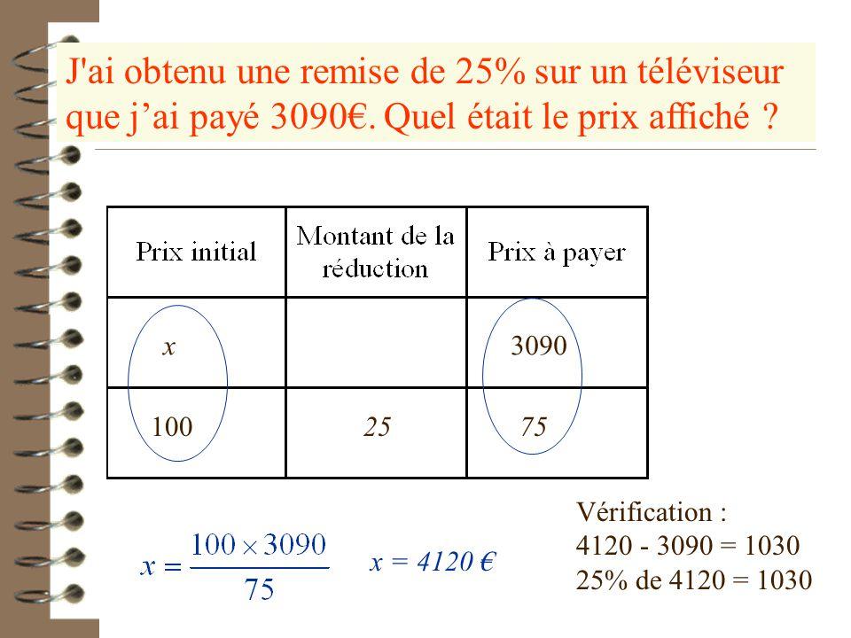 Un article coûte 979,9€ après une hausse de 2,5%. Retrouver le prix avant la hausse.. 100 t100 + t 2,5 102,5 979,9 x 102,5x = 979,9 x 100 Le prix avan