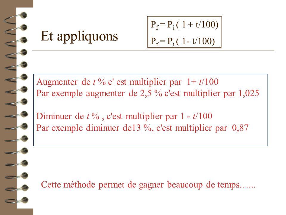 En 3 ème, résumons et démontrons Si P i désigne le prix initial, P f le prix final (après augmentation ou baisse) et si t est le pourcentage de hausse