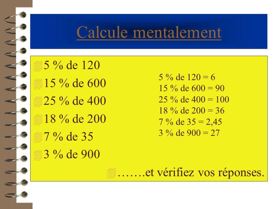 - Article coûtant 458 €, avec remise de 7 % - Article coûtant 6985 € avec remise de 18 % - Article coûtant 153 € avec remise de 5 % - Article coûtant 26 € avec augmentation de 3 % - Article coûtant 45 569 € avec augmentation de 5,8 % - Article coûtant 23,5€ avec augmentation de16,9 % 458  (1 – 0,07) = 425,94 € 6985  (1 – 0,18) = 5727,70 € 153  (1 – 0,05) = 145,35 € 26 x (1 + 0,03 ) = 26,78 € 45 569 x (1 + 0,058 ) = 48212 € 23,5 x (1 + 0,169 ) = 27,47 € Calcule maintenant le prix à payer dans les cas suivants :