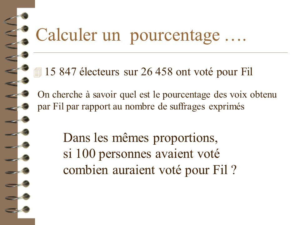 Calculer un pourcentage ….