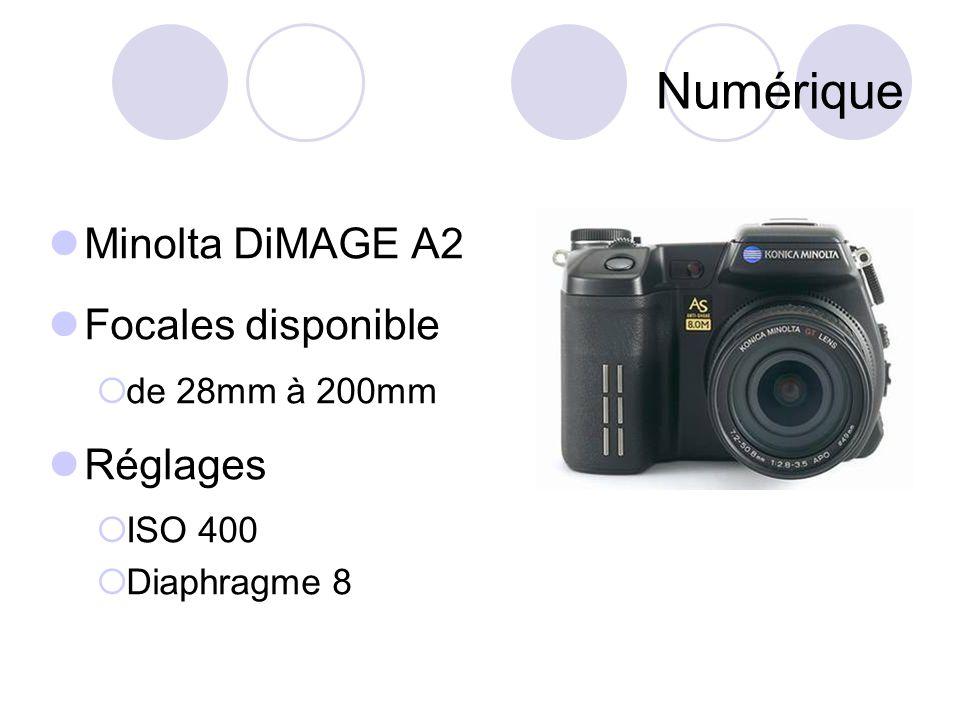 Numérique Minolta DiMAGE A2 Focales disponible  de 28mm à 200mm Réglages  ISO 400  Diaphragme 8