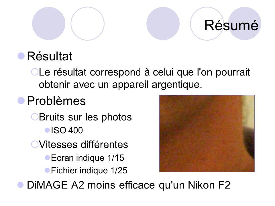 Résumé Résultat  Le résultat correspond à celui que l on pourrait obtenir avec un appareil argentique.