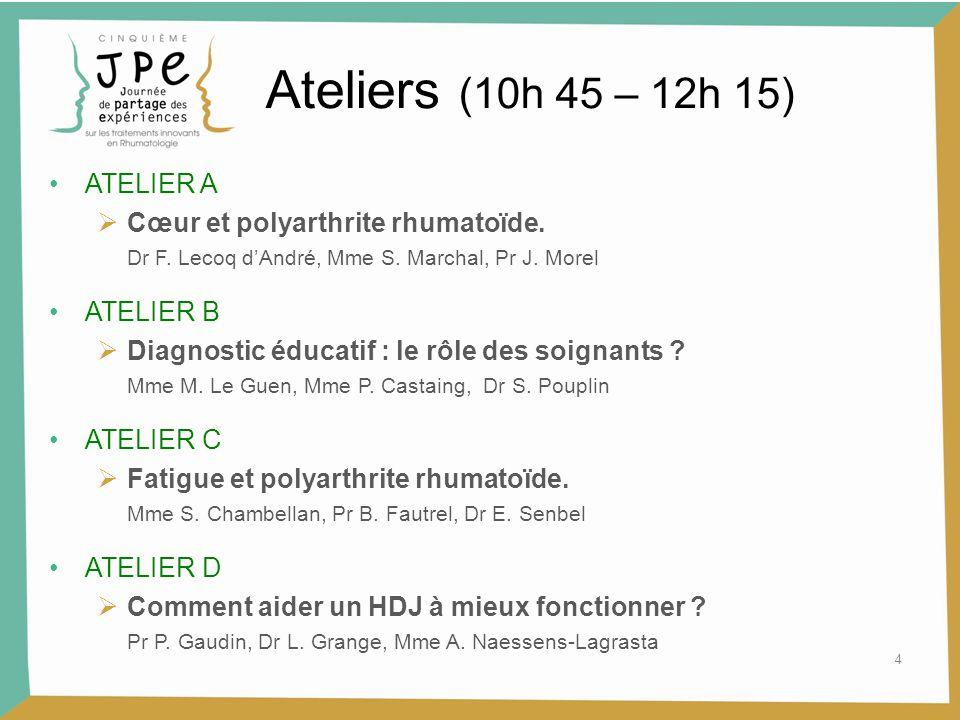 4 Ateliers (10h 45 – 12h 15) ATELIER A  Cœur et polyarthrite rhumatoïde. Dr F. Lecoq d'André, Mme S. Marchal, Pr J. Morel ATELIER B  Diagnostic éduc