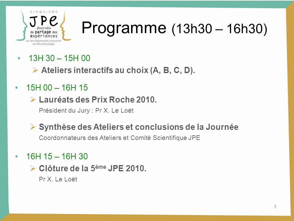 5 Programme (13h30 – 16h30) 15H 00 – 16H 15  Lauréats des Prix Roche 2010. Président du Jury : Pr X. Le Loët 13H 30 – 15H 00  Ateliers interactifs a
