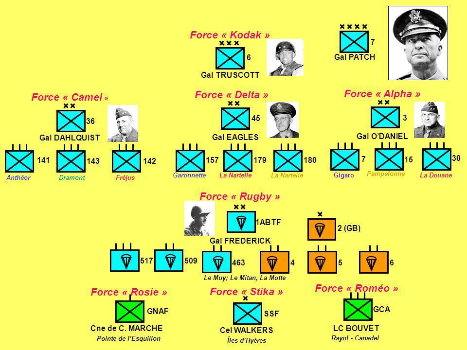7 Gal PATCH 3 7 30 15 Force « Alpha » Gal O'DANIEL GigaroLa Douane Pampelonne GNAF Cne de C. MARCHE Force « Rosie » Pointe de l'Esquillon SSF Cel WALK