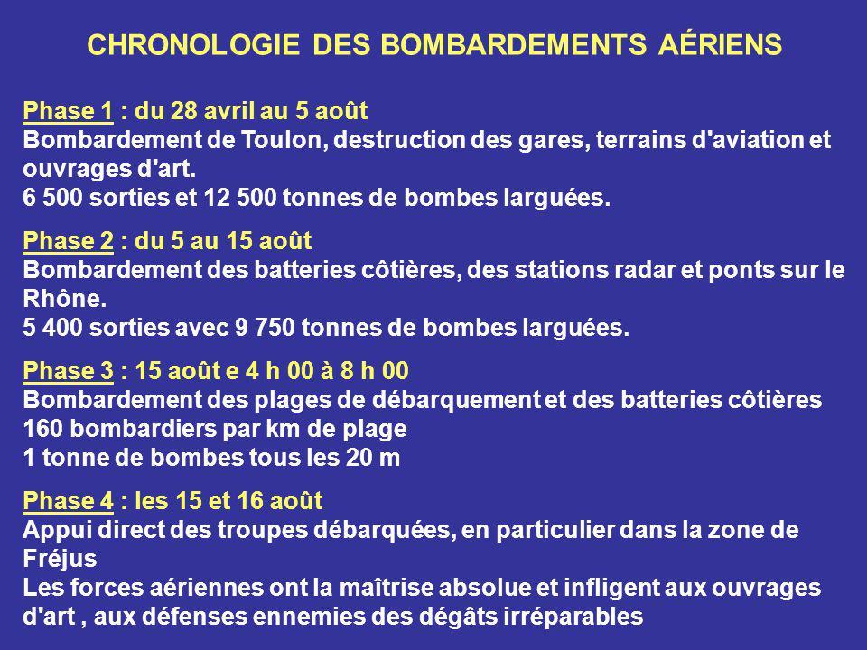 CHRONOLOGIE DES BOMBARDEMENTS AÉRIENS Phase 1 : du 28 avril au 5 août Bombardement de Toulon, destruction des gares, terrains d aviation et ouvrages d art.
