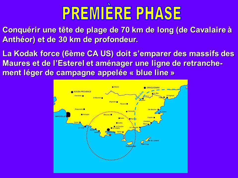 Conquérir une tête de plage de 70 km de long (de Cavalaire à Anthéor) et de 30 km de profondeur.