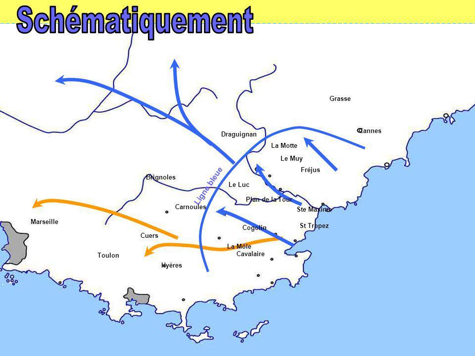 Ligne bleue Grasse Draguignan Cannes La Motte Le Muy Le Luc Ste Maxime St Tropez Cogolin Plan de la Tour Cavalaire Hyères Brignoles Cuers Fréjus La Môle Toulon Marseille Carnoules