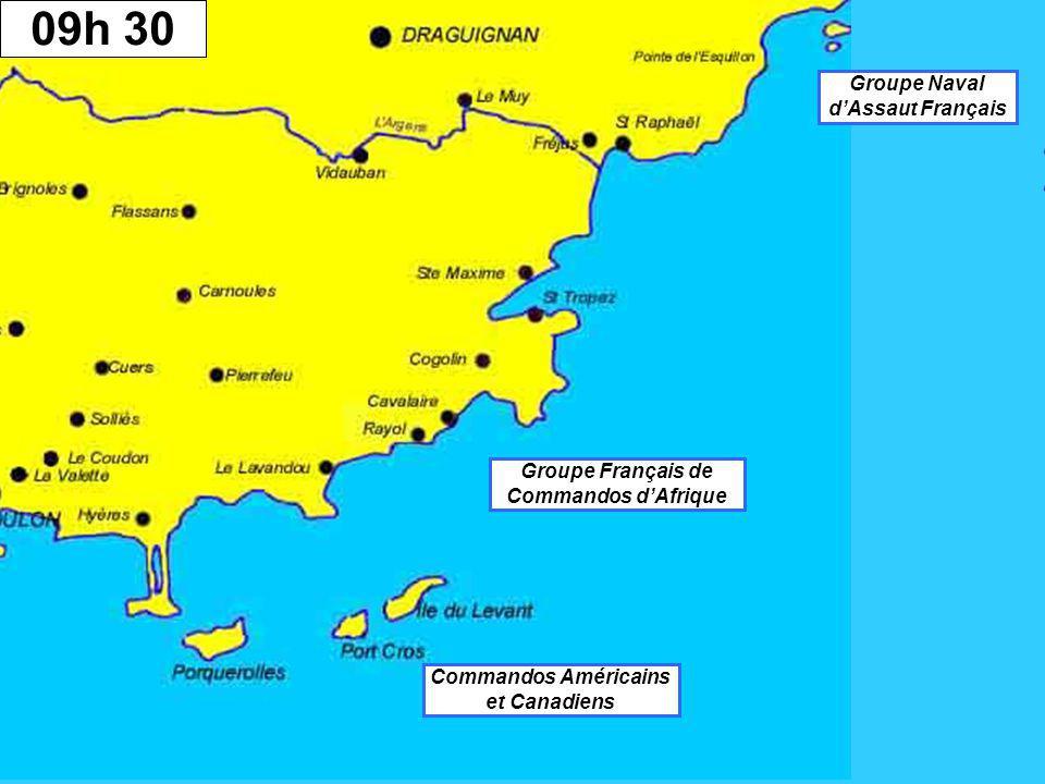01 h 0003 h 3004 h 3009h 30 Groupe Naval d'Assaut Français Groupe Français de Commandos d'Afrique Commandos Américains et Canadiens