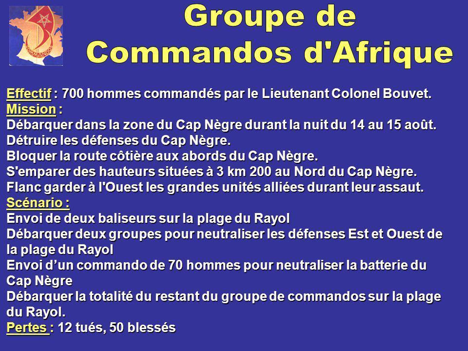 Effectif Effectif : 700 hommes commandés par le Lieutenant Colonel Bouvet. Mission Mission : Débarquer dans la zone du Cap Nègre durant la nuit du 14