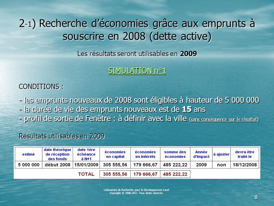 7 Équivalences « stock de dette » L'ouverture d'une Fenêtre budgétaire par la ville de MA_COMMUNE par exploitation de son stock de dette au 1 er janvier 2008 produira, en 2009, une réduction des dépenses équivalente à : 15,2% du capital à rembourser en 2008 15,2% du capital à rembourser en 2008 11,0% des intérêts à payer en 2008 11,0% des intérêts à payer en 2008 Capital et intérêts confondus, l'impact de cette Fenêtre budgétaire correspondra, en 2009, à 13,6% du total des dépenses prévues pour la dette en 2008 Laboratoire de Recherche pour le Développement Local Copyright © 2006-2011 Tous droits réservés