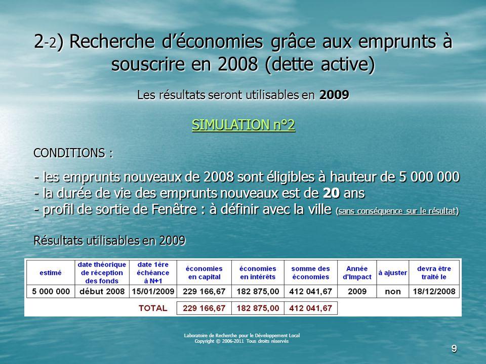 8 Laboratoire de Recherche pour le Développement Local Copyright © 2006-2011 Tous droits réservés CONDITIONS : - les emprunts nouveaux de 2008 sont éligibles à hauteur de 5 000 000 - la durée de vie des emprunts nouveaux est de 15 ans - profil de sortie de Fenêtre : à définir avec la ville (sans conséquence sur le résultat) Résultats utilisables en 2009 2 -1 ) Recherche d'économies grâce aux emprunts à souscrire en 2008 (dette active) Les résultats seront utilisables en 2009 SIMULATION n°1