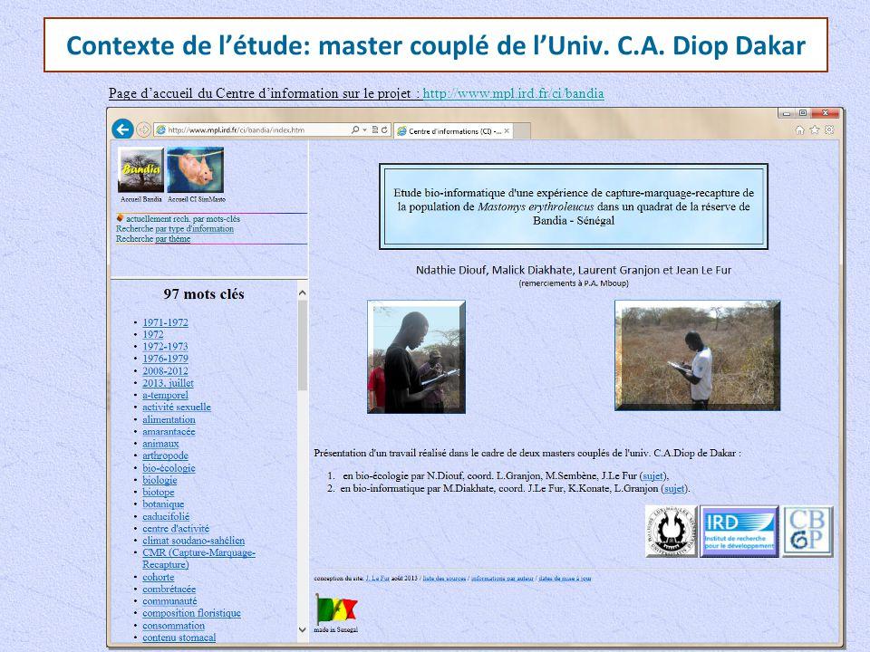 Contexte de l'étude: master couplé de l'Univ. C.A. Diop Dakar Page d'accueil du Centre d'information sur le projet : http://www.mpl.ird.fr/ci/bandiaht