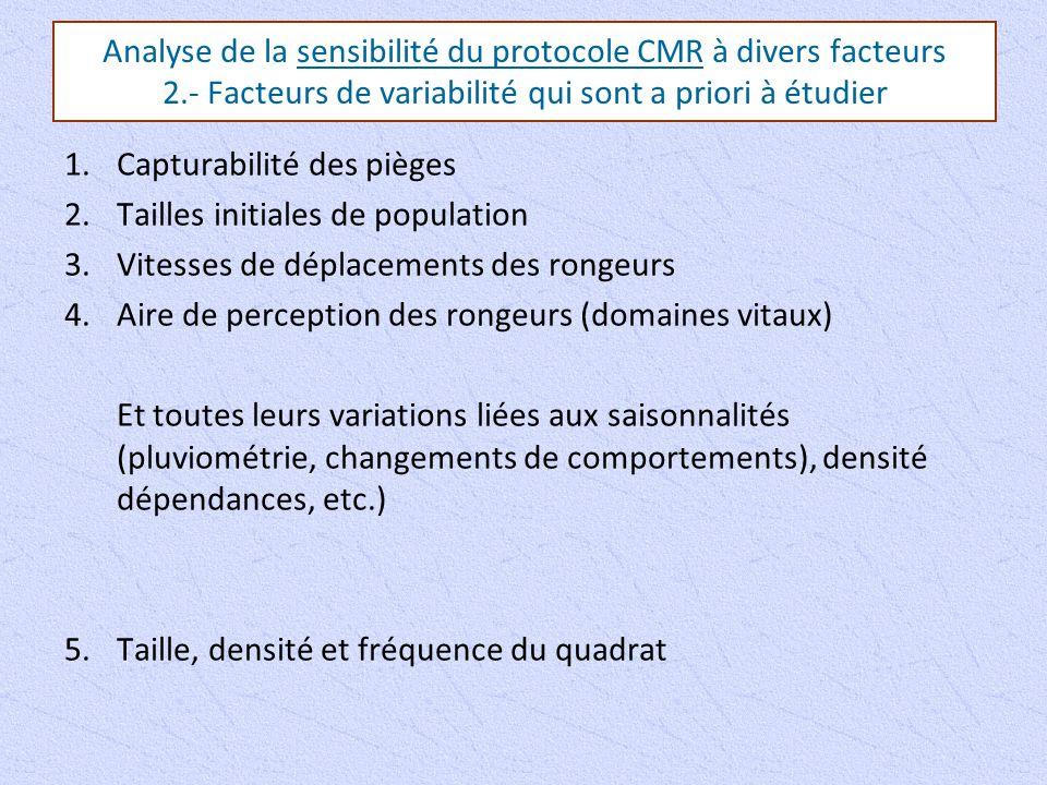 Analyse de la sensibilité du protocole CMR à divers facteurs 2.- Facteurs de variabilité qui sont a priori à étudier 1.Capturabilité des pièges 2.Tail