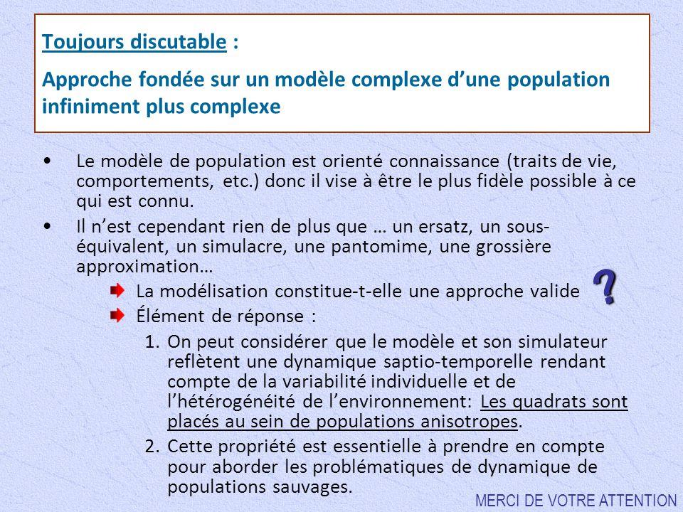 Toujours discutable : Approche fondée sur un modèle complexe d'une population infiniment plus complexe Le modèle de population est orienté connaissanc