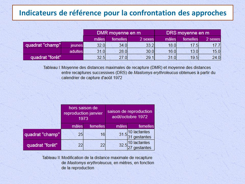 Indicateurs de référence pour la confrontation des approches