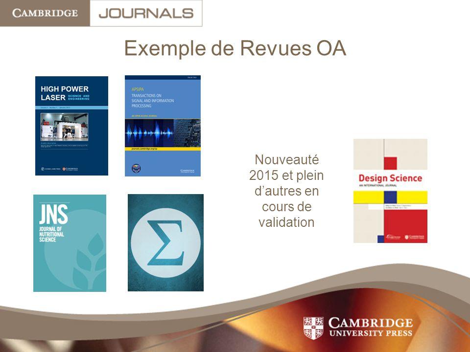 Exemple de Revues OA Nouveauté 2015 et plein d'autres en cours de validation