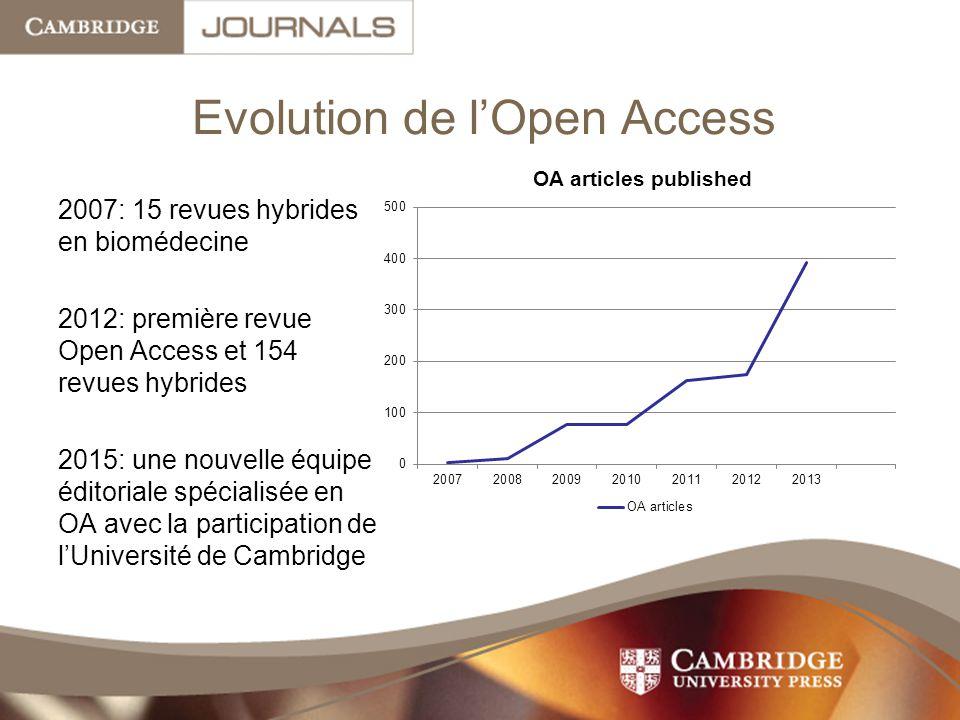 Evolution de l'Open Access 2007: 15 revues hybrides en biomédecine 2012: première revue Open Access et 154 revues hybrides 2015: une nouvelle équipe éditoriale spécialisée en OA avec la participation de l'Université de Cambridge