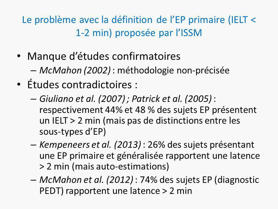 Le problème avec la définition de l'EP primaire (IELT < 1-2 min) proposée par l'ISSM Manque d'études confirmatoires – McMahon (2002) : méthodologie non-précisée Études contradictoires : – Giuliano et al.