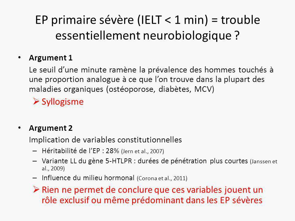 EP primaire sévère (IELT < 1 min) = trouble essentiellement neurobiologique .
