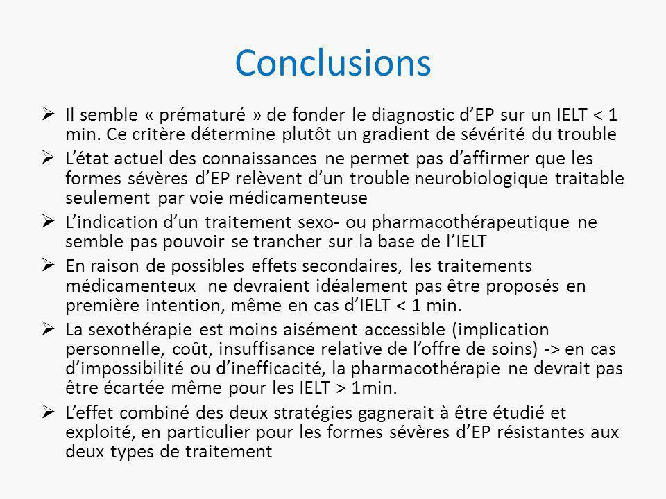 Conclusions  Il semble « prématuré » de fonder le diagnostic d'EP sur un IELT < 1 min.
