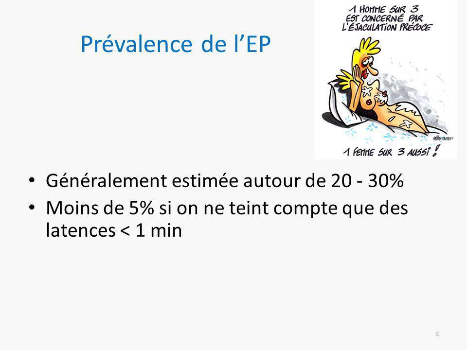 Prévalence de l'EP Généralement estimée autour de 20 - 30% Moins de 5% si on ne teint compte que des latences < 1 min 4