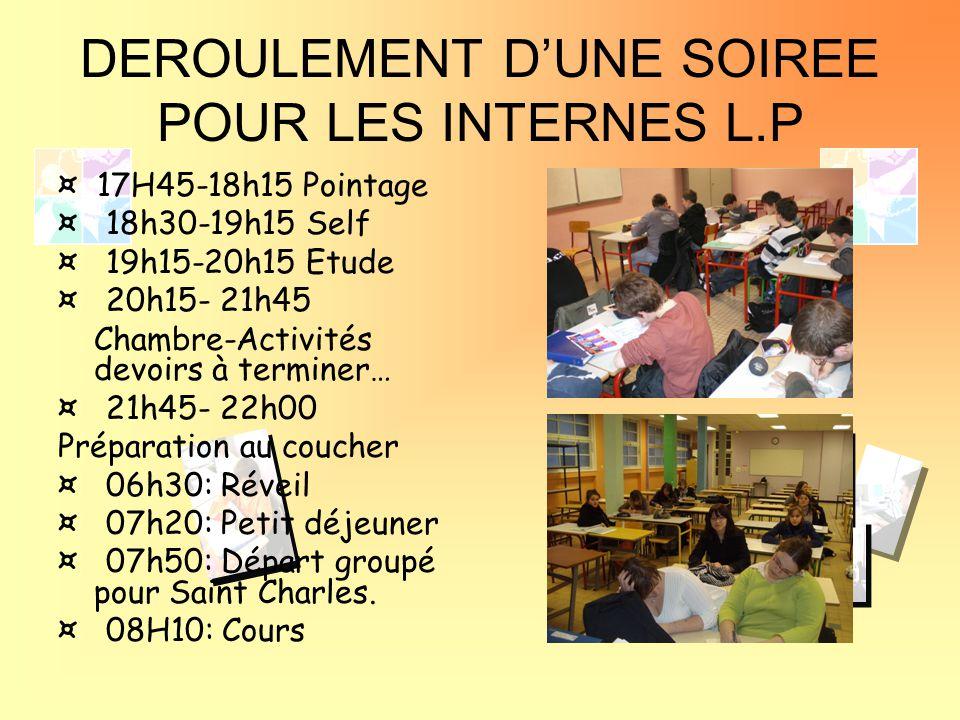 DEROULEMENT D'UNE SOIREE POUR LES INTERNES L.P ¤ 17H45-18h15 Pointage ¤ 18h30-19h15 Self ¤ 19h15-20h15 Etude ¤ 20h15- 21h45 Chambre-Activités devoirs à terminer… ¤ 21h45- 22h00 Préparation au coucher ¤ 06h30: Réveil ¤ 07h20: Petit déjeuner ¤ 07h50: Départ groupé pour Saint Charles.