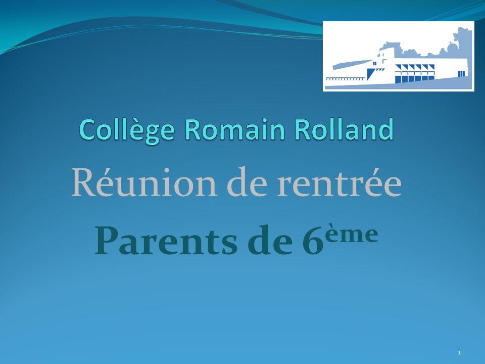 Réunion de rentrée Parents de 6 ème 1