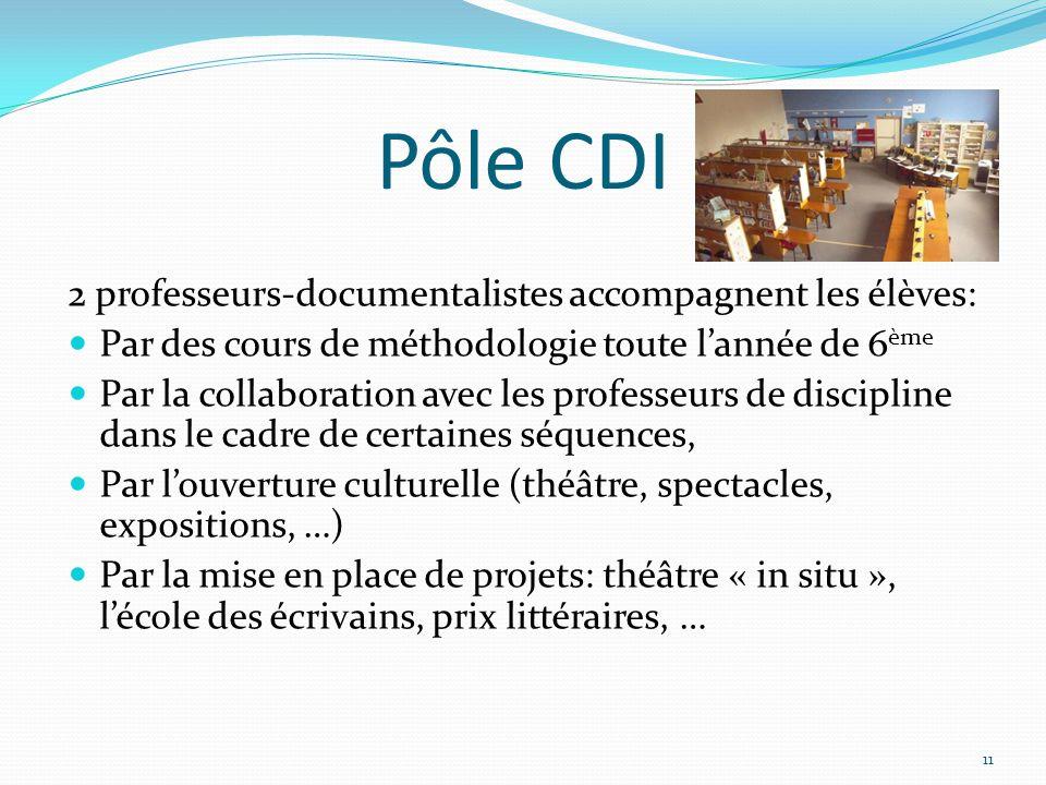 Pôle CDI 2 professeurs-documentalistes accompagnent les élèves: Par des cours de méthodologie toute l'année de 6 ème Par la collaboration avec les pro