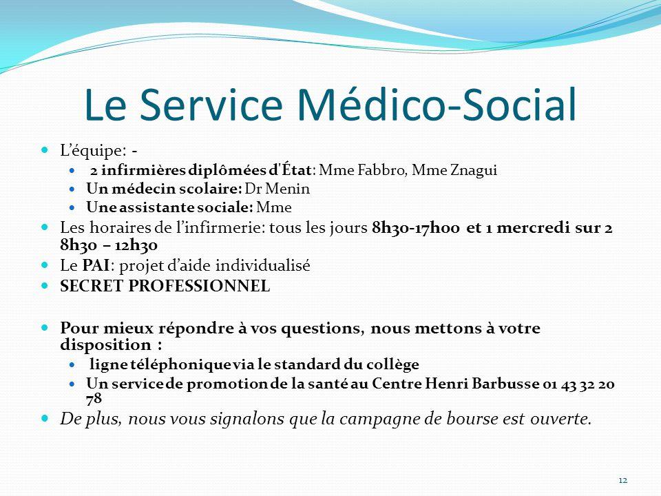 Le Service Médico-Social L'équipe: - 2 infirmières diplômées d'État: Mme Fabbro, Mme Znagui Un médecin scolaire: Dr Menin Une assistante sociale: Mme