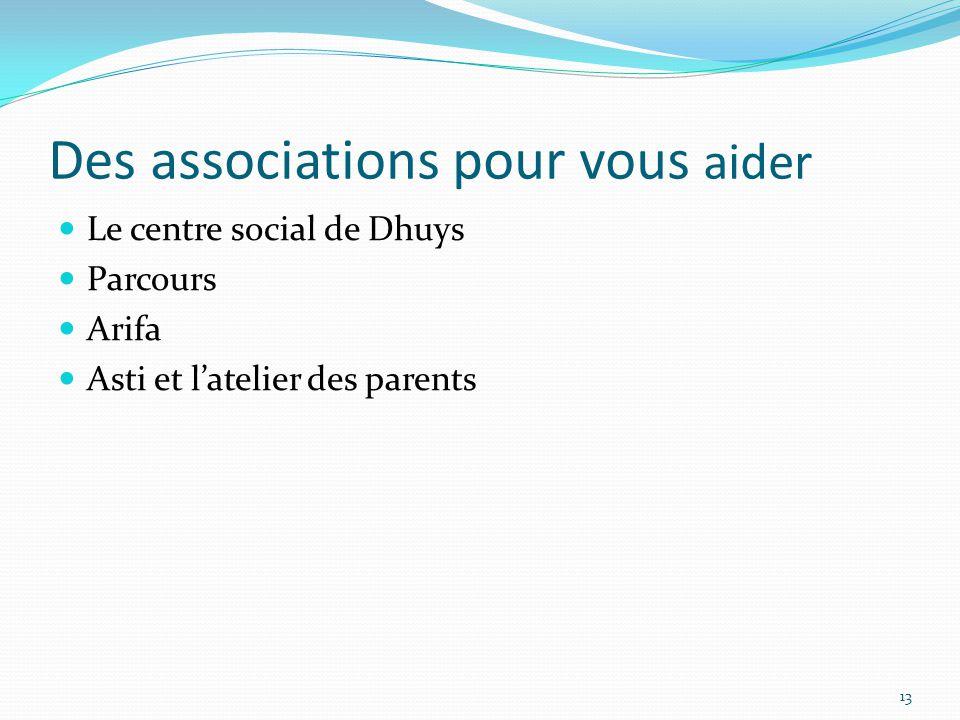 Des associations pour vous aider Le centre social de Dhuys Parcours Arifa Asti et l'atelier des parents 13