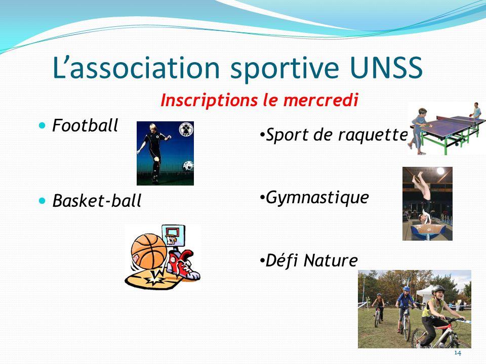 L'association sportive UNSS Inscriptions le mercredi Football Basket-ball Sport de raquette Gymnastique Défi Nature 14