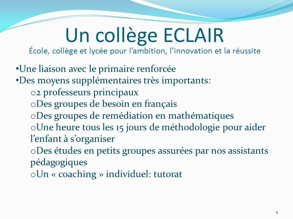 Un collège ECLAIR École, collège et lycée pour l'ambition, l'innovation et la réussite Une liaison avec le primaire renforcée Des moyens supplémentair