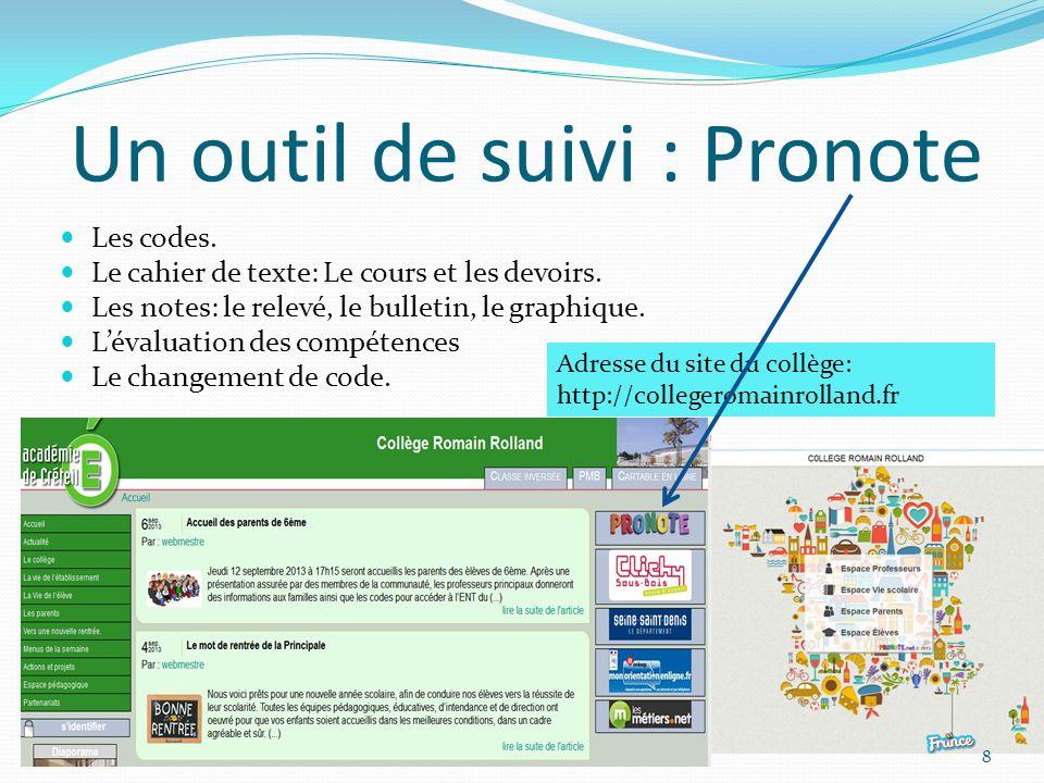 Un outil de suivi : Pronote Les codes. Le cahier de texte: Le cours et les devoirs. Les notes: le relevé, le bulletin, le graphique. L'évaluation des